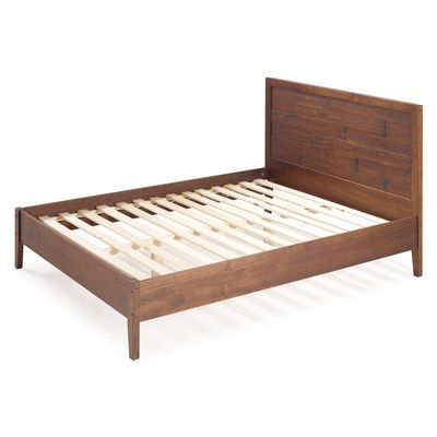 Distressed Mahogany Wooden Queen Bed Solid Wood Bed Bed Frame