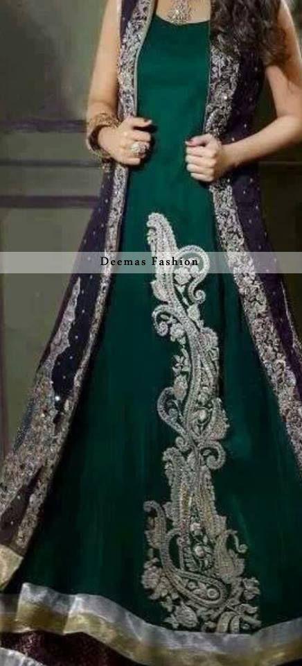 Dark green and silver with dark purple coat Pakistani maxi