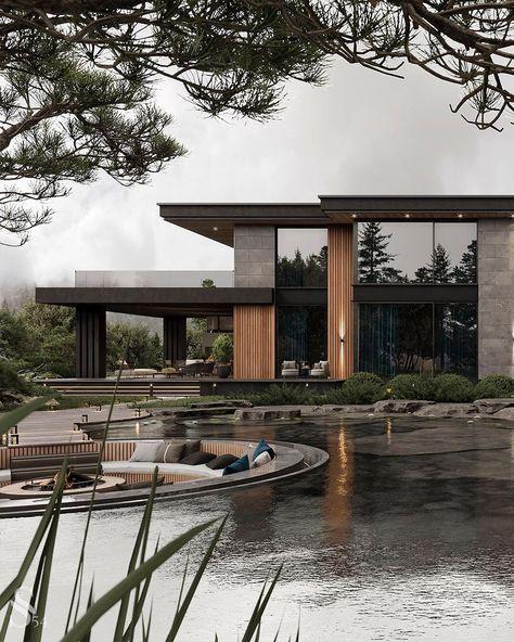 Dream House Interior, Luxury Homes Dream Houses, Dream Home Design, Modern House Design, Modern House Facades, Dark House, My House, Modern Exterior, Exterior Design