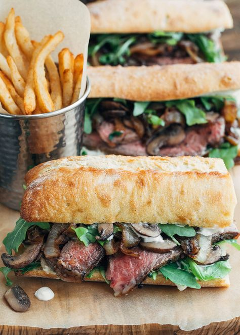 Looking for the ultimate steak sandwich? Layered with pan-seared ribeye, sautéedmushrooms, caramelized onions, & zesty horseradish sauce on crusty ciabatta, this recipe is one to savor! #beef #sandwich