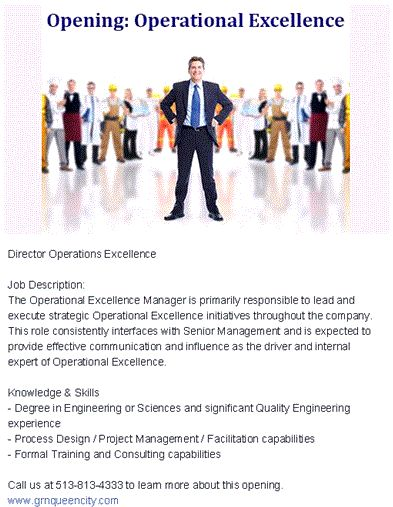 Job Description The Operational Excellence Manager is primarily - operations director job description