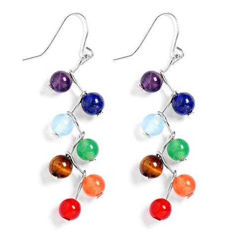 Chakra Beads, Chakra Jewelry, Yoga Jewelry, Chakra Stones, Chakra Healing, Gemstone Beads, Women's Earrings, Hanging Earrings, Wire Jewelry Earrings
