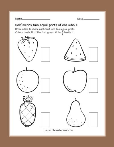 Fun practice preschool worksheets on Half Fractions. #half ...