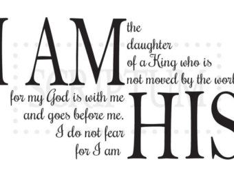 I Am the Daughter of a King quote vinyl wall decal by Strideza