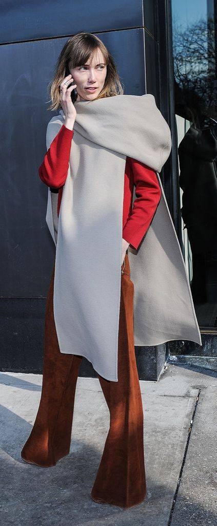 NYFW street style: blanket wrap scarf and wide legged pants