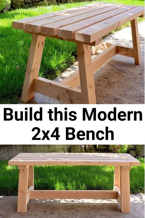 Modern Bench - DIY Tutorial - Girl, Just DIY! Build this beginner project Modern Bench with my DIY Tutorial using construction but with a modern twist. Great budget friendly DIY for a patio, entryway, or a dining room. Easy Woodworking Projects, Diy Wood Projects, Woodworking Bench, Woodworking Equipment, Woodworking Techniques, Green Woodworking, Youtube Woodworking, Woodworking Classes, Woodworking Videos