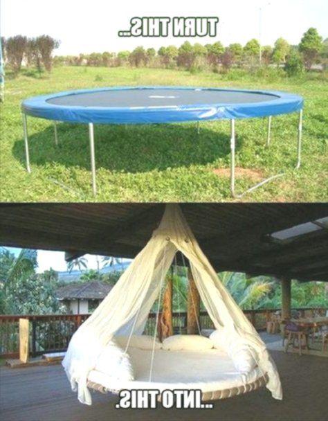 Wie Verwandle Ich Ein Trampolin In Eine Luxuriose Hangende Lounge Hintergarten Moderner Hinterhof Diy Gartendekoration