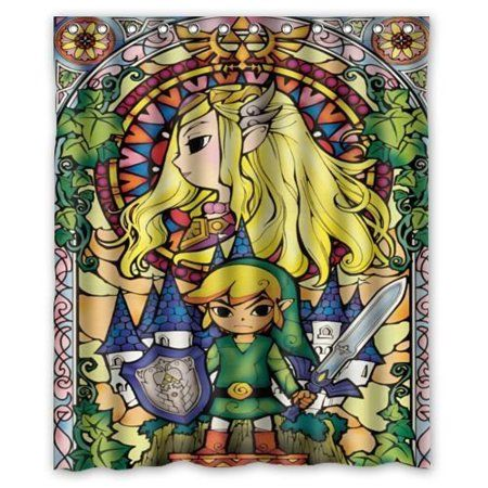 Deyou The Legend Of Zelda Stained Glass Shower Curtain Polyester
