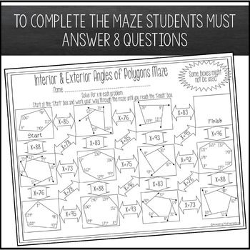Interior Exterior Angles Of Polygons Worksheet Maze Activity Interior And Exterior Angles Exterior Angles Middle School Math Geometry Angles of polygons practice worksheet