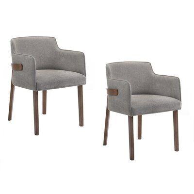 Mercury Row Mukai Upholstered Arm Chair In Gray Wayfair Upholstered Arm Chair Solid Wood Dining Chairs Upholstered Dining Chairs