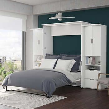 Boutique Queen Wall Bed With Two 25 Open Storage Units In White Wall Bed Murphy Bed Plans Murphy Bed