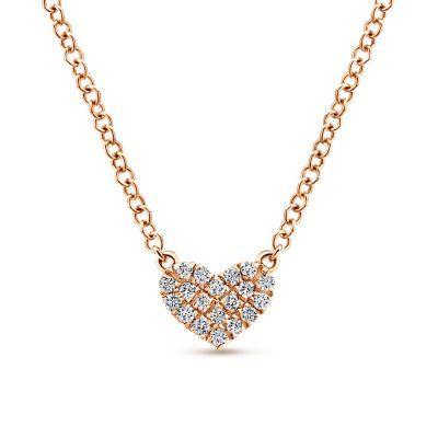 14k Rose Gold Pave Diamond Pendant Heart Necklace Kay Jewelry Jewelry Cute Necklace