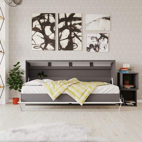 Smartbett Schrankbett Standard 90x200 Horizontal Anthrazit Weiss
