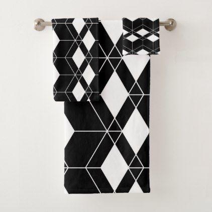 Abstract Geometric Pattern Black And White Bath Towel Set