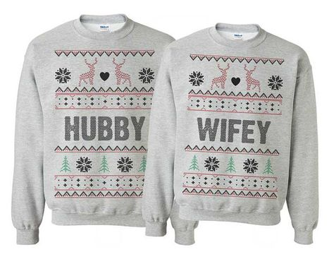 hubby wifey couple sweatshirts for christmas. Ugly Christmas Sweater set
