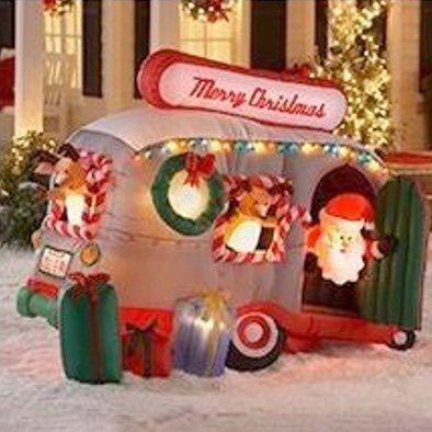 camper with christmas lights | picture of santa with inflatable rv trailer by gemmy