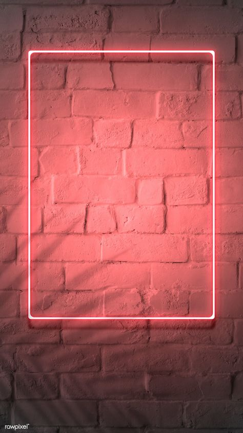 Download premium psd of Neon red frame on a brick wall by nam about neon, art, bar, brick and brick wall 894328
