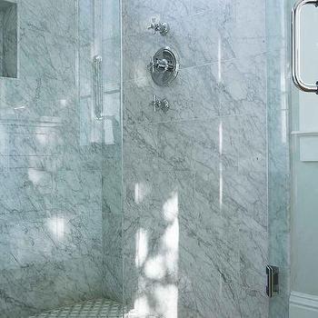 Gray Marble Chair Rail Tiles In Walk In Shower Transitional Bathroom Marble Showers White Mosaic Floor Tile Mosaic Shower Tile