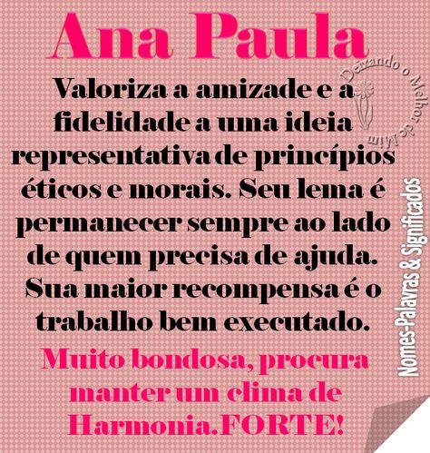 Ana Paula Significados Dos Nomes