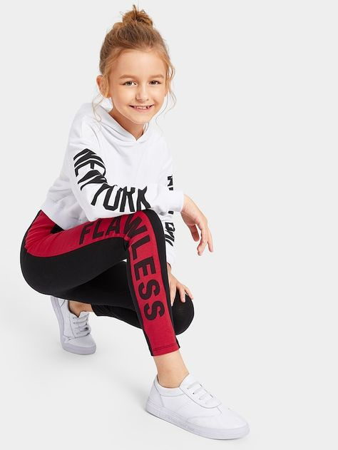 Product name: Girls Color-block Lettering Leggings at SHEIN, Category: Girls Pants & Leggings