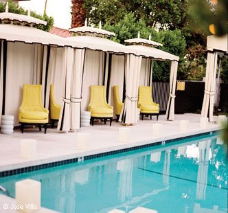 Hollywood Regency Cabanas Accented By Yellow Chairs At Viceroy Palm Springs  #design