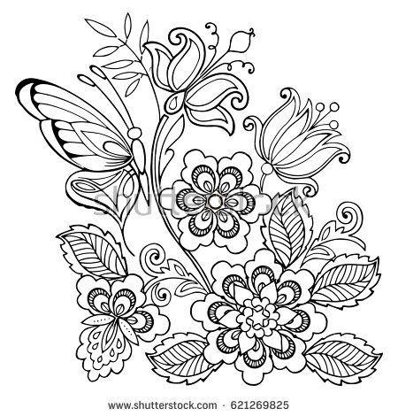 Hand Drawn Flowers And Butterflies For The Anti Stress Coloring Page Ausmalbilder Blumen Vorlage Malvorlagen Blumen
