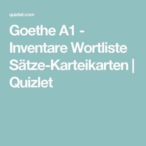 Goethe A1 Inventare Wortliste Sätze Karteikarten Quizlet Deutsch
