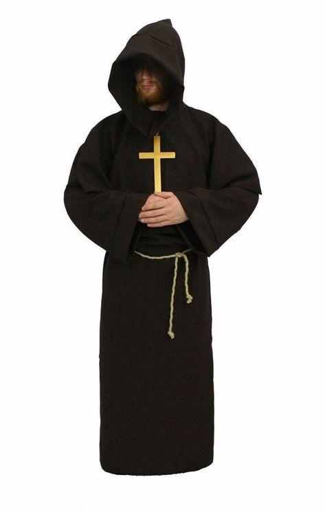 Long Grey Hooded Cape Ghoul Pagan Monks Halloween LARP Fancy Dress
