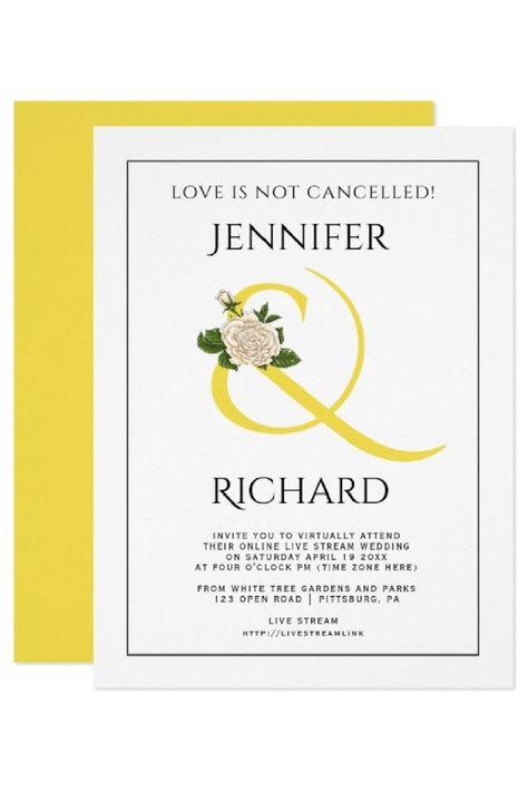 Illuminating yellow ampersand and white rose virtual wedding invitation. #invitation #wedding #virtualwedding #illuminatingyellow #yellow #ampersand