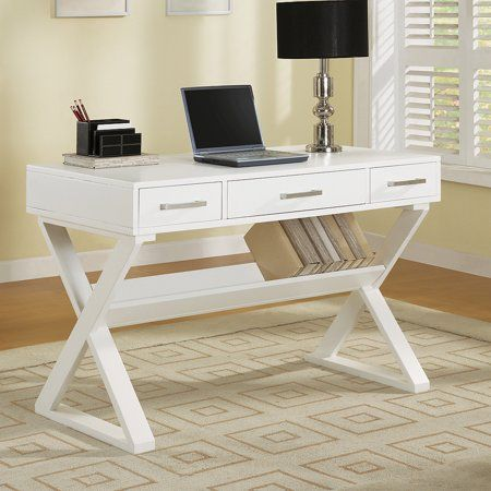 Casual White Writing Desk Walmart Com Contemporary Computer Desk Computer Desk White Desk Office