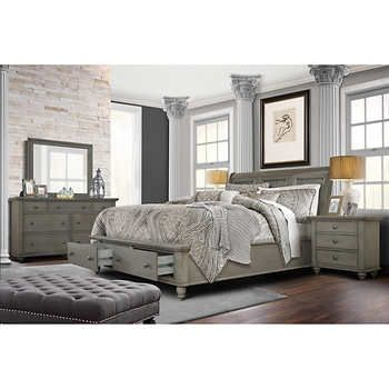 Allenville 5-piece King Bedroom Set, Gray | Rustic Bedroom ...