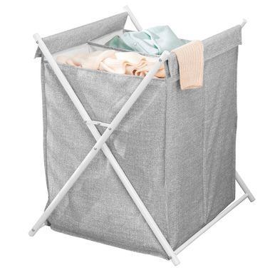 Collapsible Metal Fabric Laundry Hamper Gray White Laundry