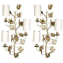 Large Pair of 1920s Sconces, 'the Harvest'