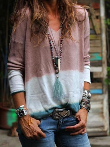 Tie dye women/'s 3XL cotton long sleeve V-neck tee