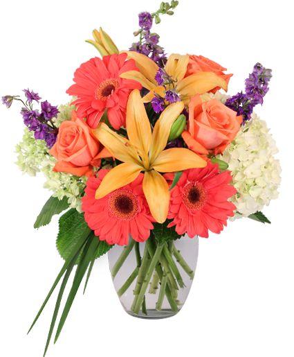 Aurora Bouquet In 2020 Flower Delivery Yellow Flower Arrangements Purple Carnations
