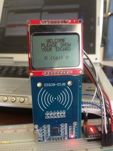 Arduino Rfid And 5110 Screen Id Card Reader Rc522 Arduino Arduino Projects Rfid Arduino