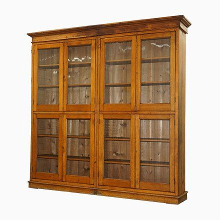 Antique Mahogany Oak Library Cabinet With Glass Doors Products