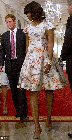 Michelle Obama in a floral Prabal Gurung dress