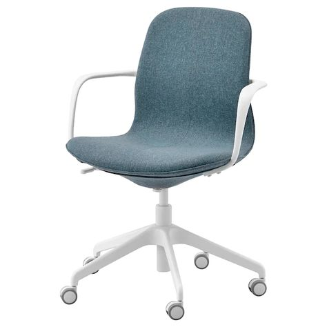 LÅNGFJÄLL Office chair with armrests Gunnared blue, white