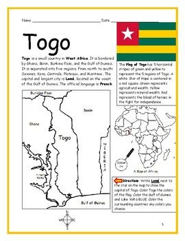 Togo Printable Handout With Map And Flag Map Puzzle Africa