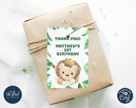 #lion #favortag #gifttags #birthdaypartyideas #treatbags #safaribirthdayparty #jungleparty #junglethemebirthday #boybirthdayparties #boybirthdayparty