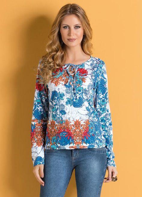 d68a55bc6 Blusa com Amarração no Decote (Floral) | Blousse | Pinterest