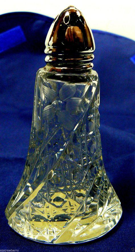 Vtg Clear Cut Crystal Salt or Pepper Shaker Bottle with Metal Top