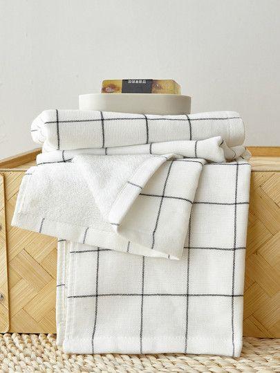 Grid Cotton Bath Towel Set 2pcs Bath Towel Sets Cotton Bath Towels