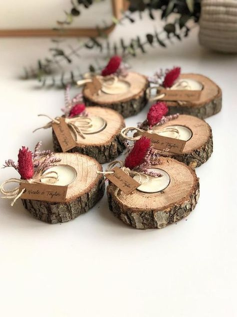 These wood tealight candle holder with customized name tag decorated with real red and lilac dry flowers. This items perfect for,wedding favors, unique gifts for guests, thank you gifts,bridal shower favors, baptism favors,bridesmaid favors,engagement favors, party gifts.You can buy them with name tags or without name tags.This unique wood tealight holder with customized name tag are perfect favors for guest.This list for the 1 personalized wood candle holder with red and lilac real dry flowers.