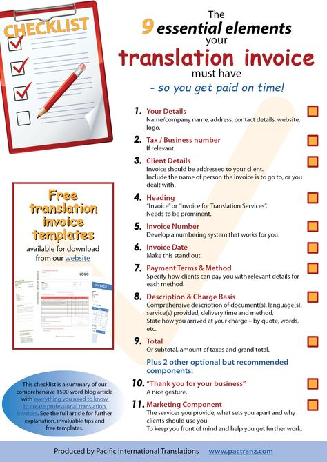 translation invoice 9 point checklist Legal Translation Pinterest - essential invoice elements