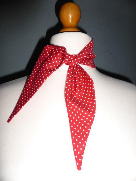 Animal print scarf retro 1940/'s//50/'s black and white stretch neckerchief tie
