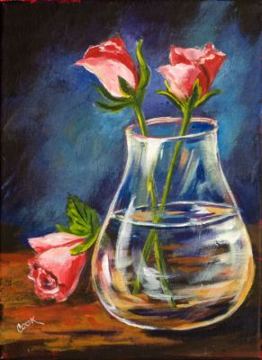 3 Roses With A Glass Vase Flower Art Acrylic Painting Lessons