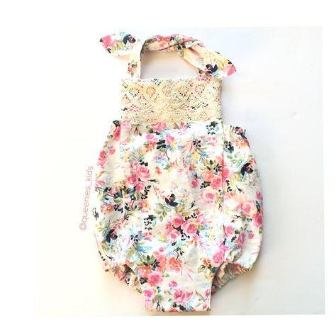 cecf061f0 Floral Baby Romper, Boho Baby Romper, Baby Romper, Toddler Floral Romper,  Spring Baby Romper, Girls