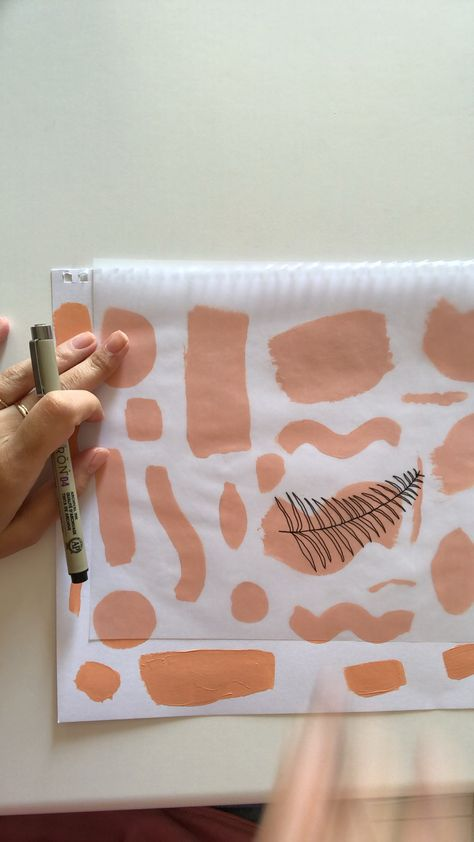 Drawing tropical leaves